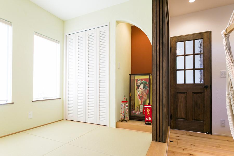 和室は優しい風合いの塗り壁仕上げ
