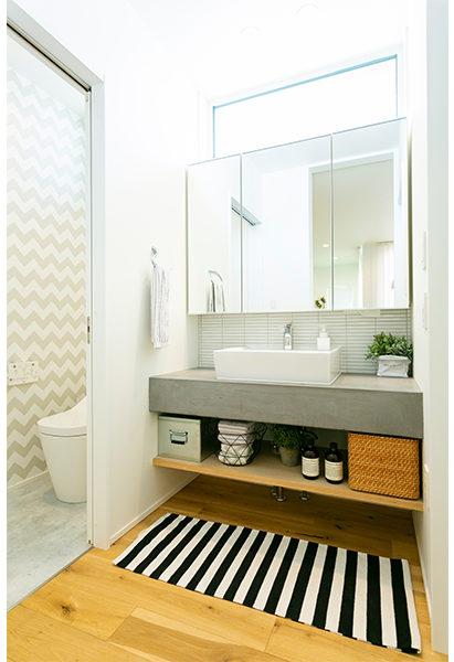 造作のモルタル調の洗面台