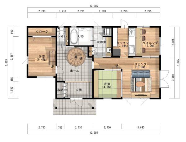 福岡南モデルハウス平面図1F
