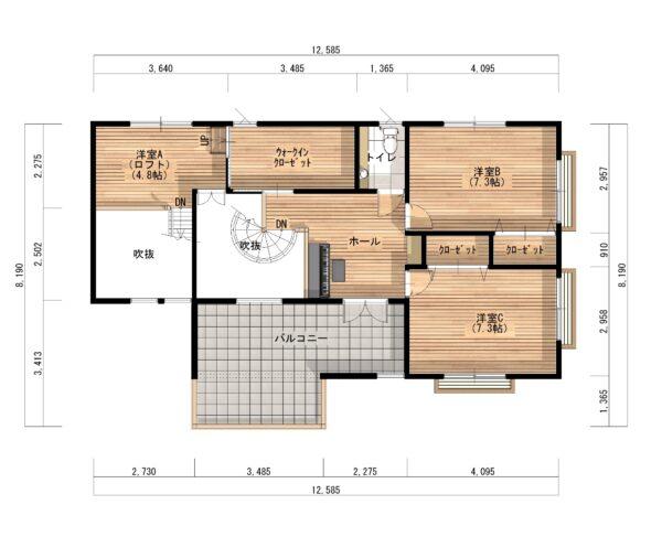 福岡南モデルハウス平面図2F