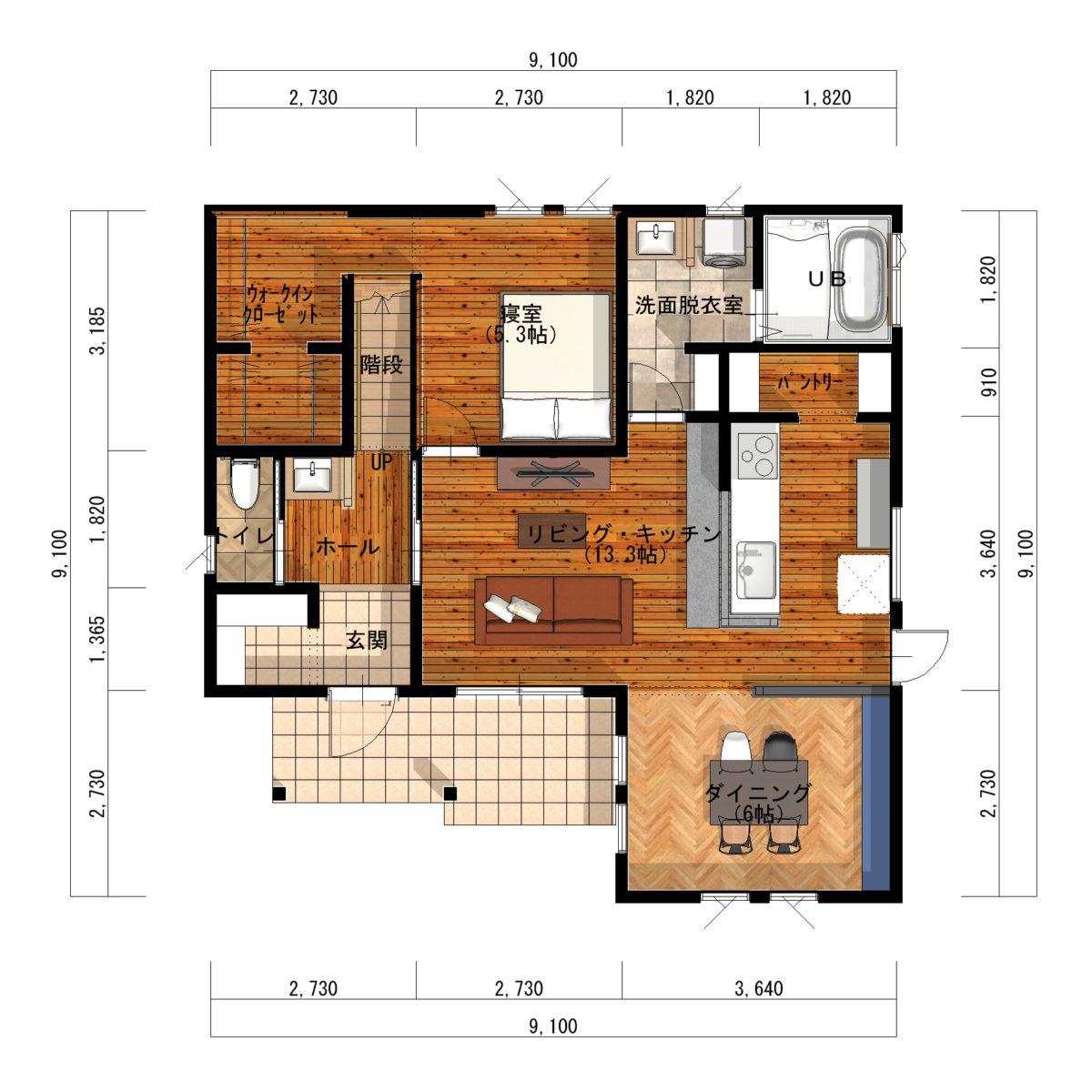 セカンドリビングがある大屋根アメリカンハウス間取り図1