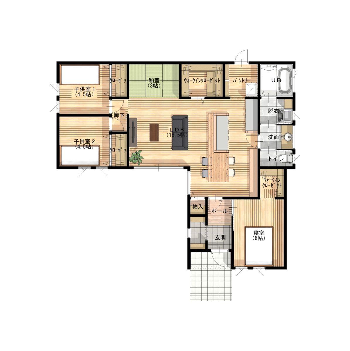 造作タイニングテーブル&カウンターがお洒落な平屋間取り図1